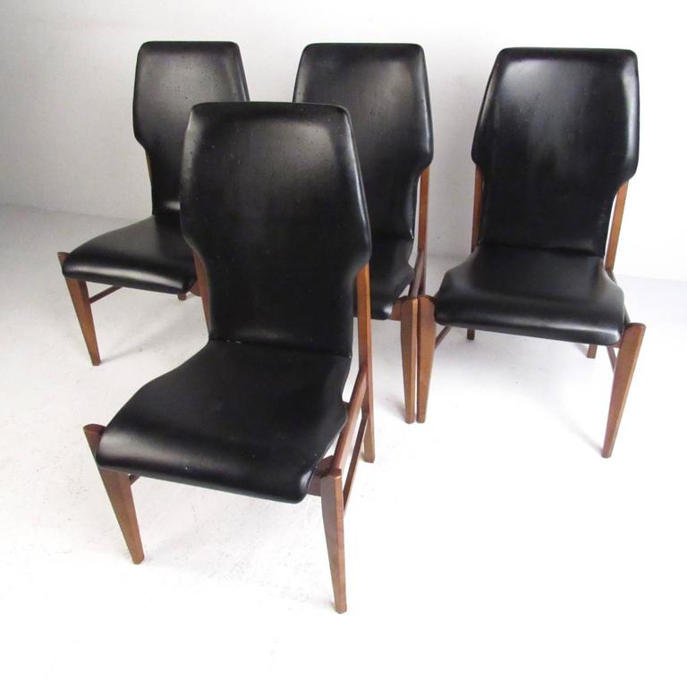 Mid-Century Set Of High Back Dining Chairs For Sale At 1stdibs
