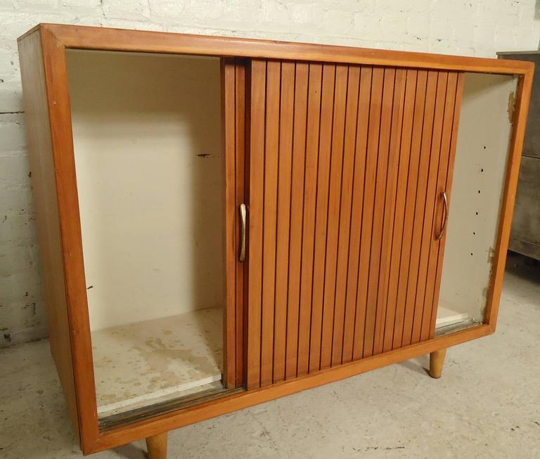 Mid Century Modern Sliding Door Cabinet At 1stdibs