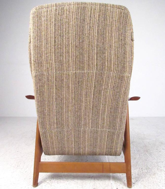 Danish Scandinavian Modern High Back Teak Lounge Chair For Sale