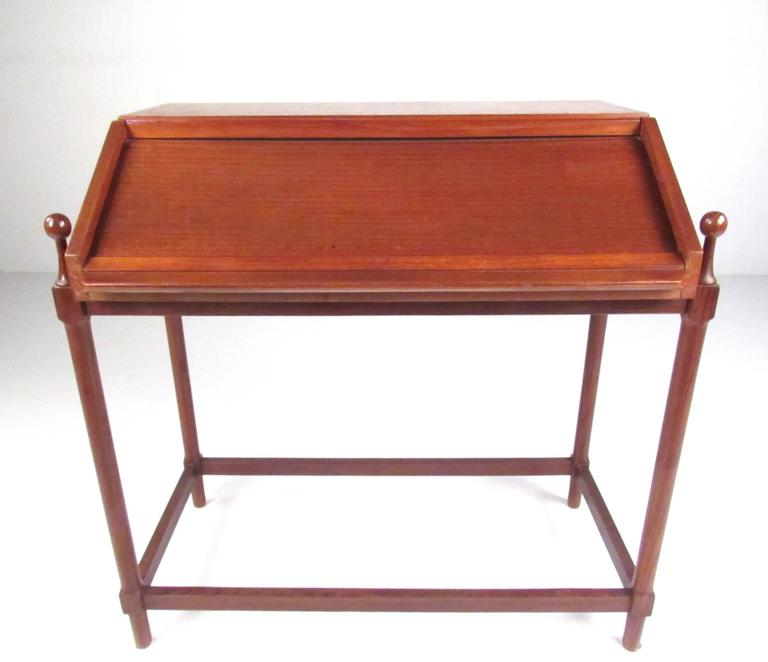 This Stylish 1960s Italian Desk By Proserpio Fratelli Features Elegant Design And A Rich Natural Teak