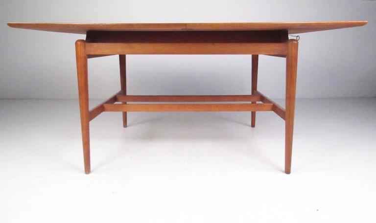 Stylish Danish Modern Floating Top Teak Dining Table For Sale At 1stdibs