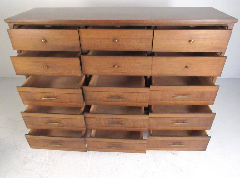 Vintage modern 15 drawer dresser with nightstand for sale for Contemporary dressers and nightstands