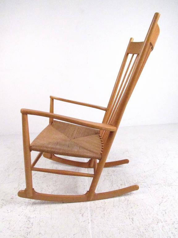 Scandinavian Modern Hans Wegner J.16 Rocking Chair with Rush Seat For Sale