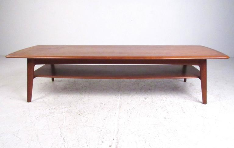 Long danish modern two tier coffee table for sale at 1stdibs for Long coffee table with storage