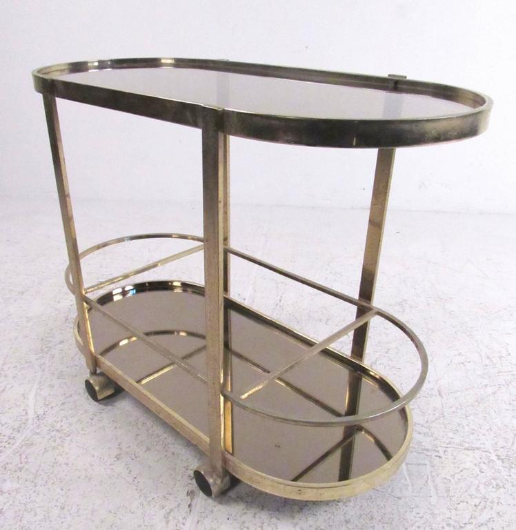Vintage Modern Brass Bar Cart In Good Condition For Sale In Brooklyn, NY