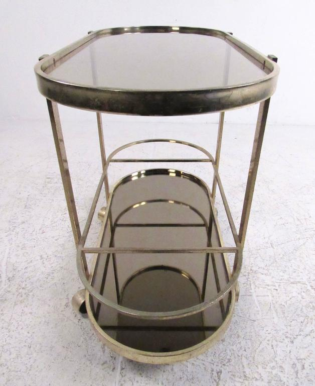 20th Century Vintage Modern Brass Bar Cart For Sale