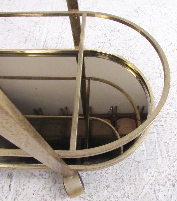 Vintage Modern Brass Bar Cart For Sale 1