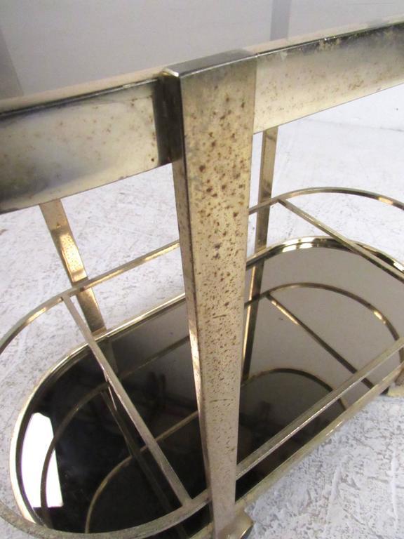 Vintage Modern Brass Bar Cart For Sale 3