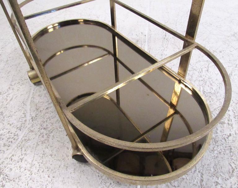 Vintage Modern Brass Bar Cart For Sale 2