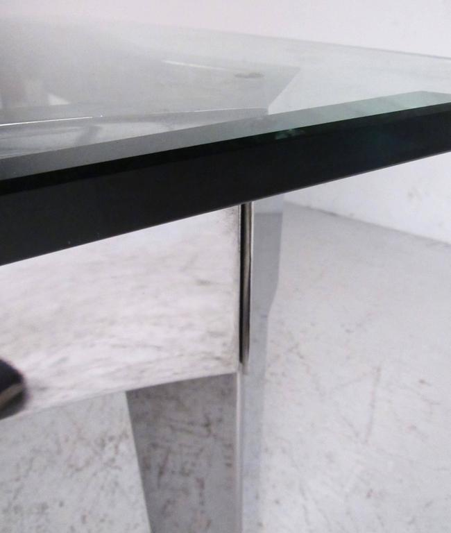 Contemporary Modern Chrome And Glass Coffee Table For Sale