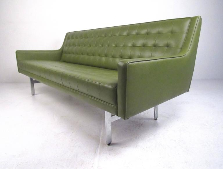 Excellent Stylish Vintage Modern Sofa In Tufted Green Vinyl Home Interior And Landscaping Transignezvosmurscom