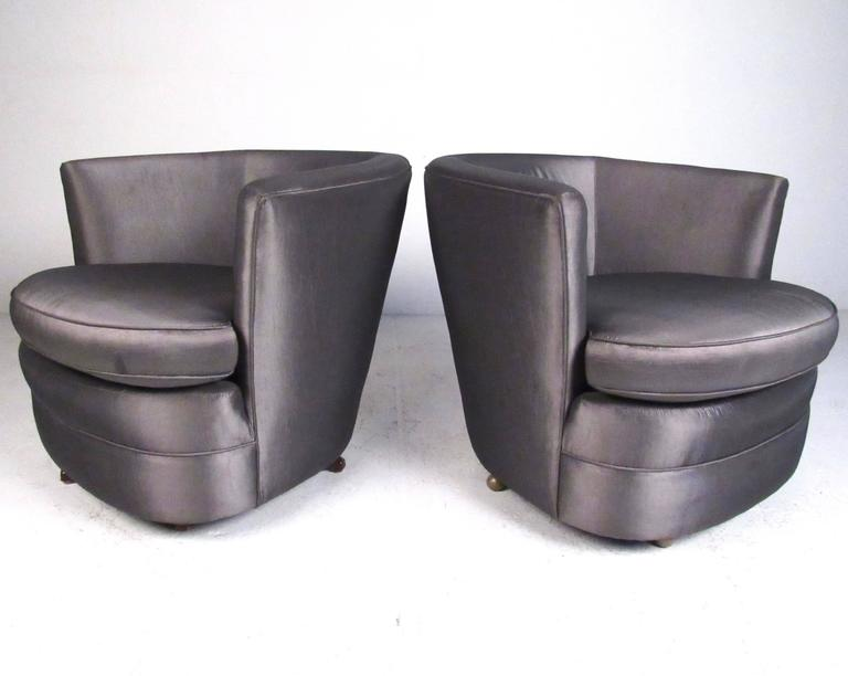 beautiful swivel club chairs | Pair of Vintage Modern Barrel Back Swivel Club Chairs For ...