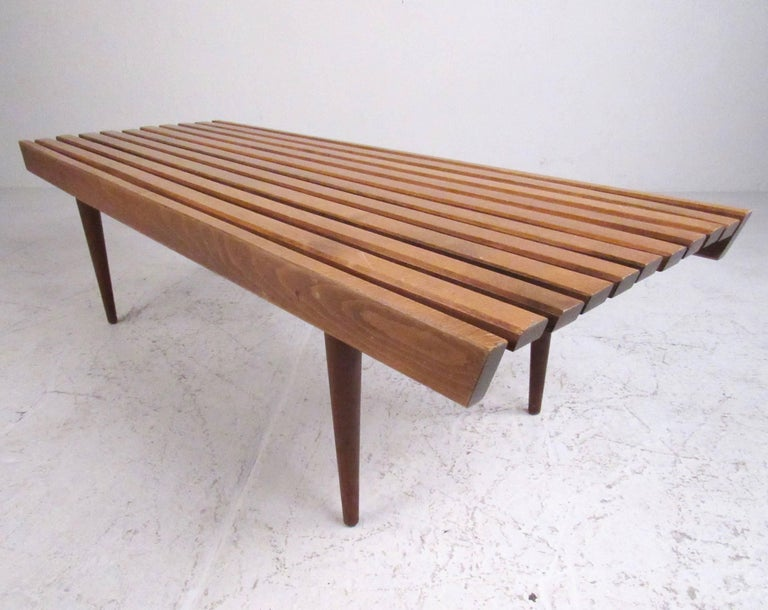 American Mid-Century Modern Slat Bench Coffee Table For Sale
