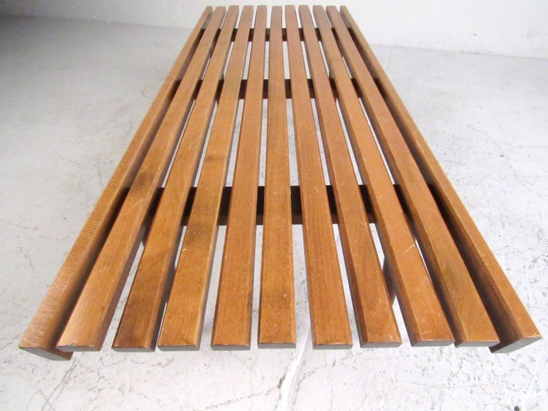 Late 20th Century Mid-Century Modern Slat Bench Coffee Table For Sale
