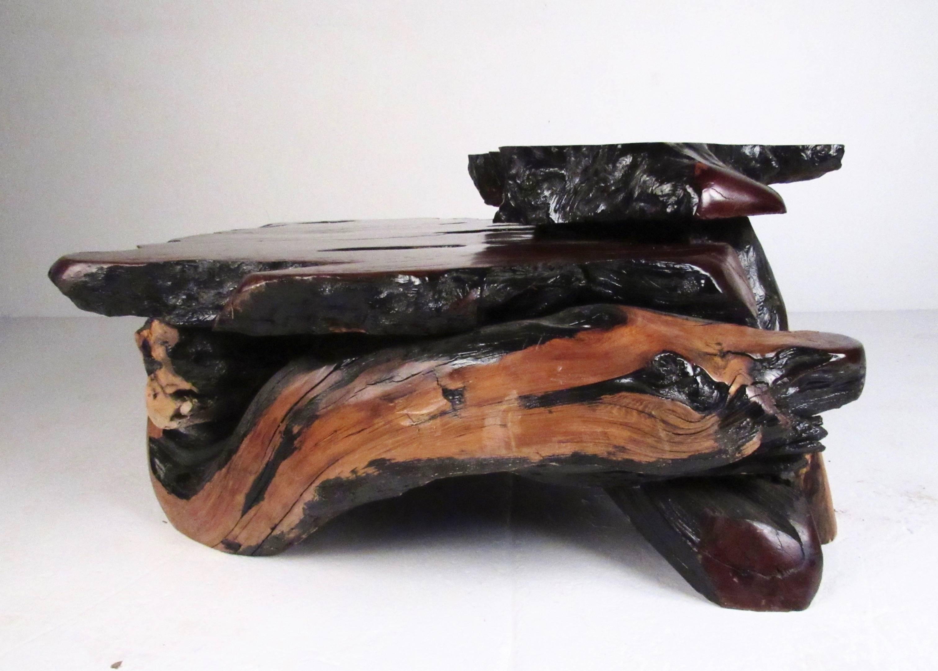 American Rustic Tree Slab Coffee Table For Sale