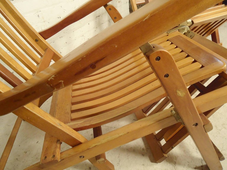 Folding Slat Deck Lounge Chairs For Sale 2