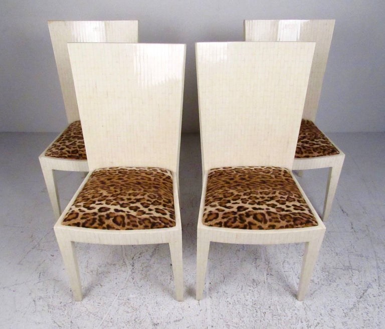 Mid-Century Modern Enrique Garcel Tessellated Bone Card Table with Chairs For Sale