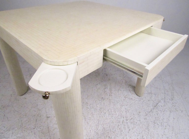 Colombian Enrique Garcel Tessellated Bone Card Table with Chairs For Sale