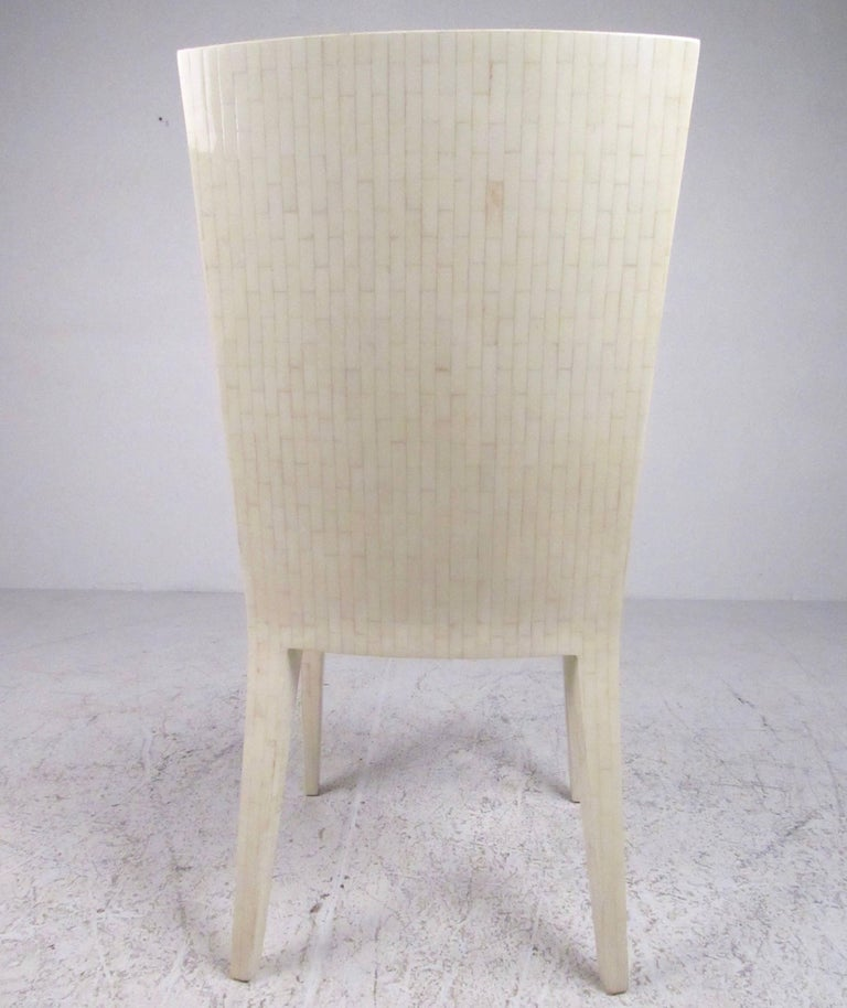 Enrique Garcel Tessellated Bone Card Table with Chairs In Good Condition For Sale In Brooklyn, NY