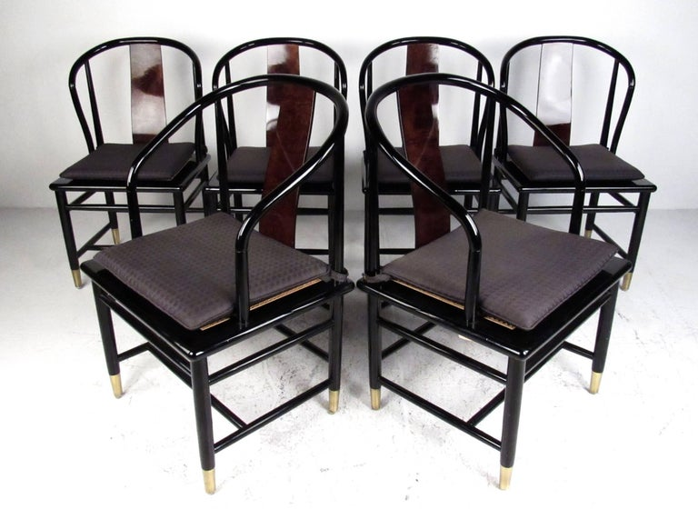 Vintage Modern Black Lacquer And Cane Dining Chairs By