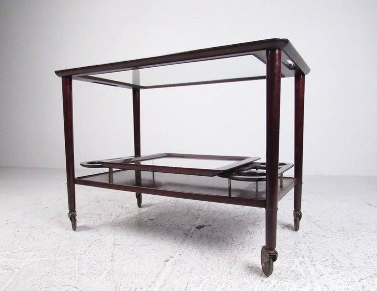 Italian Modern Mahogany Bar Cart with Service Tray 2