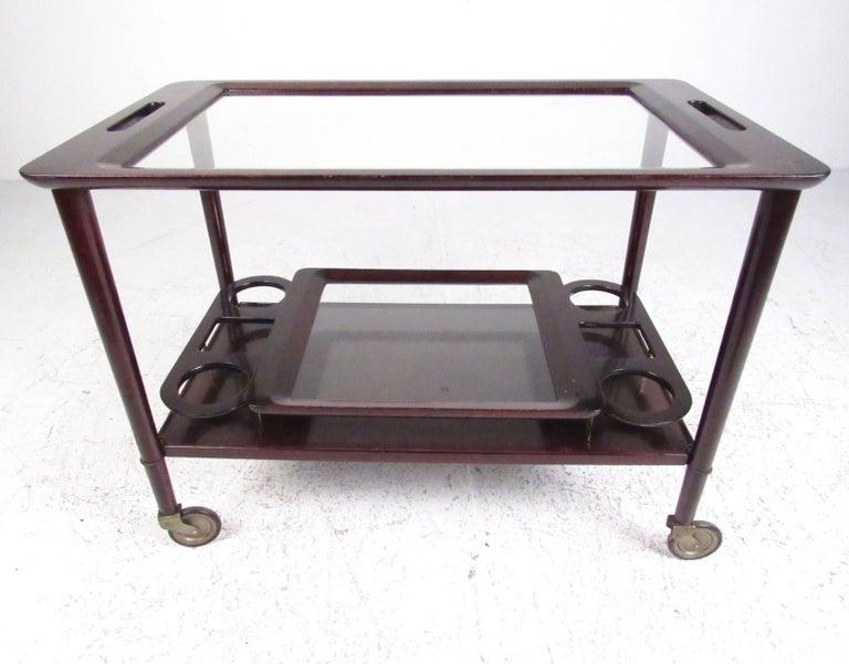 Italian Modern Mahogany Bar Cart with Service Tray 3