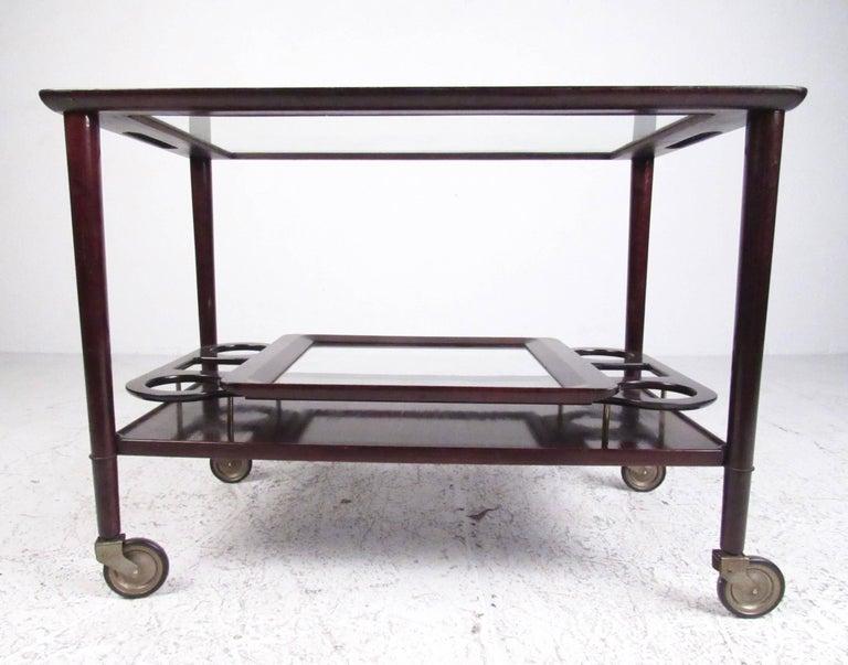 Italian Modern Mahogany Bar Cart with Service Tray 4