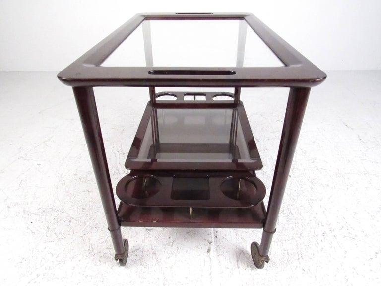 Italian Modern Mahogany Bar Cart with Service Tray 6