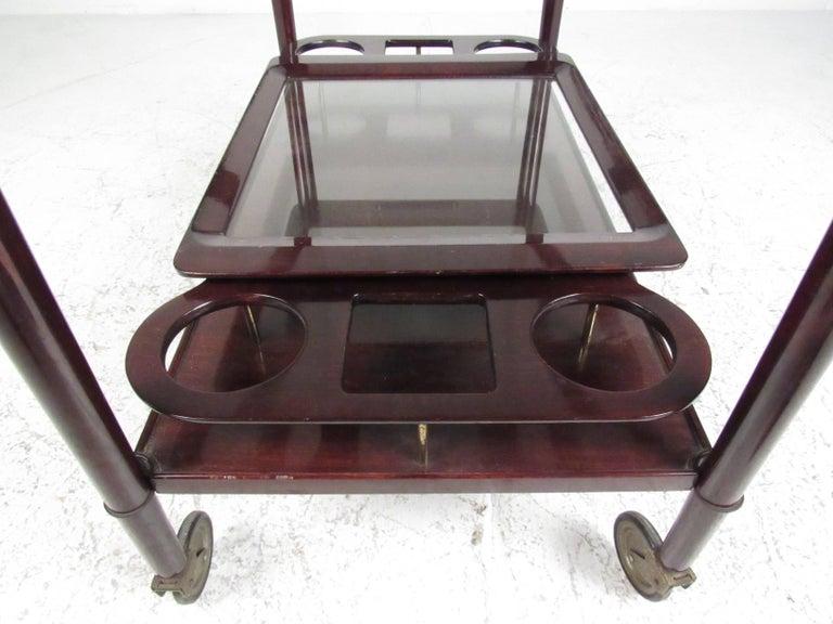 Italian Modern Mahogany Bar Cart with Service Tray 7