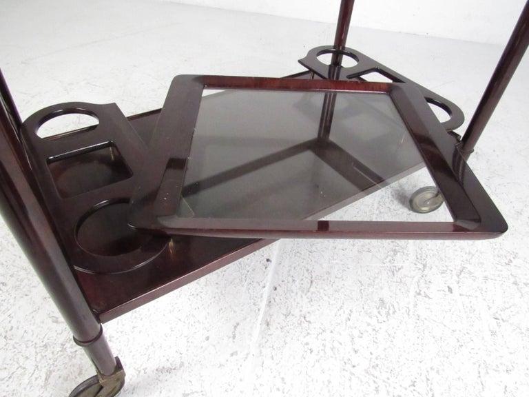 Italian Modern Mahogany Bar Cart with Service Tray 8
