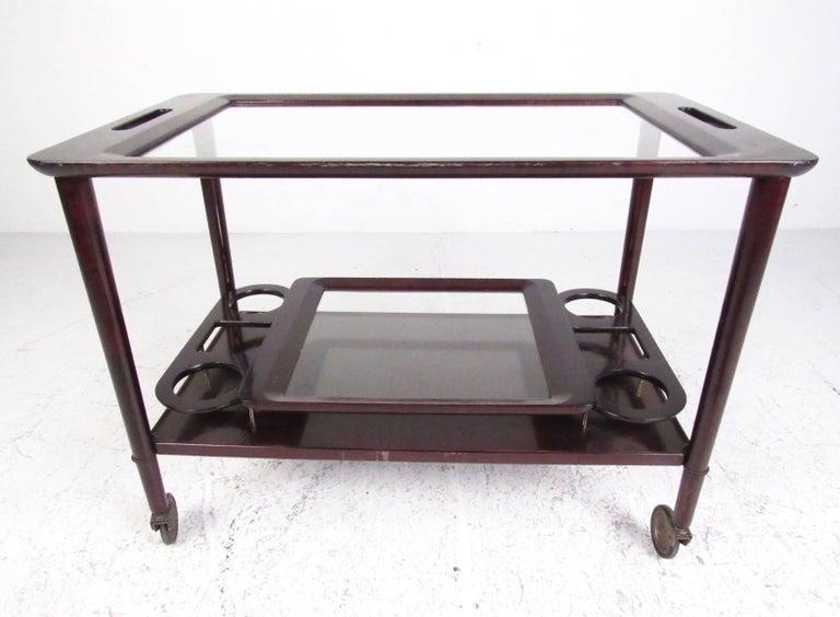 Italian Modern Mahogany Bar Cart with Service Tray 5