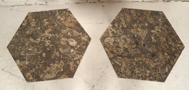 Pair of six-sided end tables on brass base. Marble base matches the tops.  (Please confirm item location, NY or NJ, with dealer).