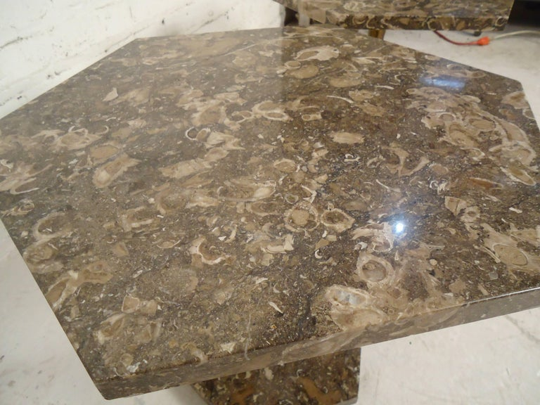 Mid-Century Modern Marble-Top Side Tables For Sale