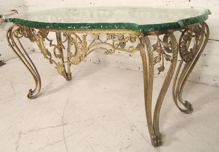 Italian Vintage Hammered Bronze Coffee Table For Sale