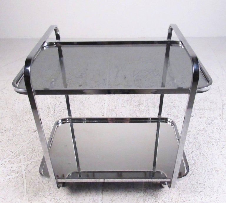 American Vintage Modern Chrome and Smoked Glass Bar Cart