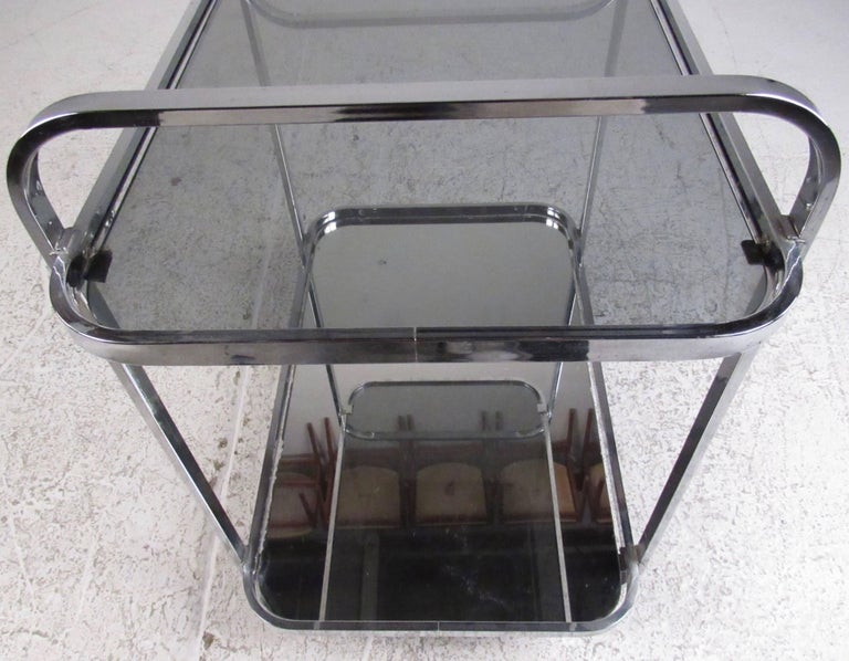 Late 20th Century Vintage Modern Chrome and Smoked Glass Bar Cart
