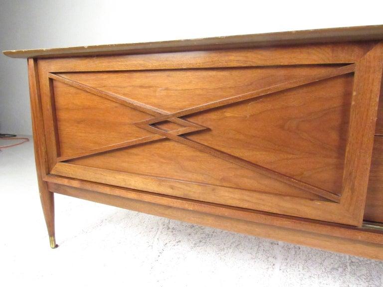 Mid-Century Modern Vintage Modern Sliding Door Storage Credenza For Sale