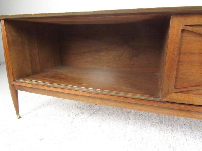 American Vintage Modern Sliding Door Storage Credenza For Sale