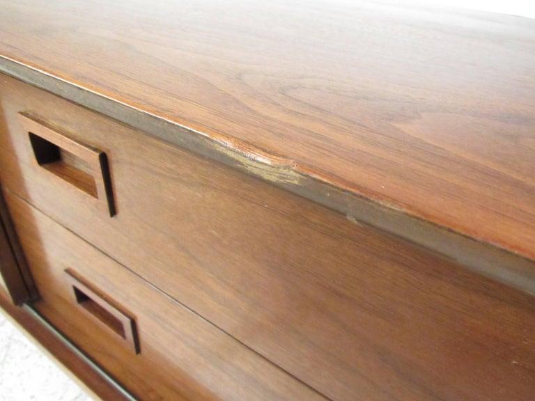 Vintage Modern Sliding Door Storage Credenza For Sale 2