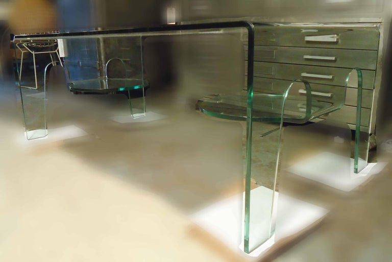 All Glass Waterfall Coffee Table For Sale At 1stdibs