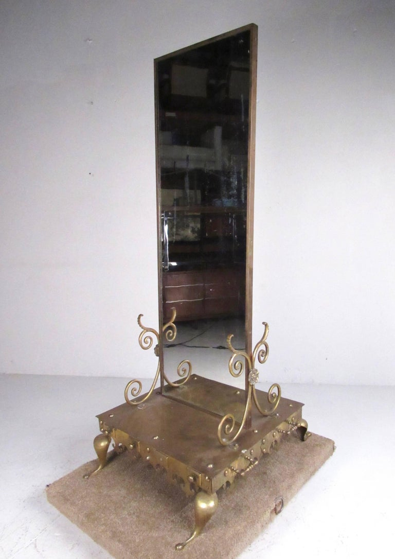 Vintage Brass Double Sided Dressing Mirror For Sale At 1stdibs