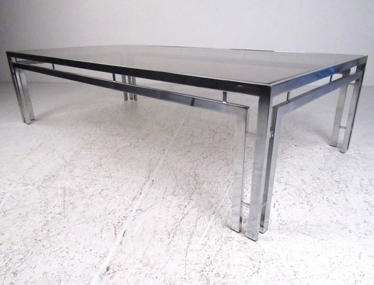 Mid Century Modern Smoked Glass Coffee Table For Sale At 1stdibs