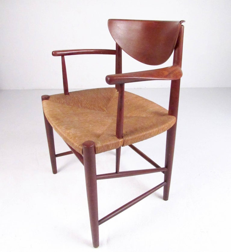 Danish Set of Six Peter Hvidt Dining Chairs in Teak and Rush For Sale