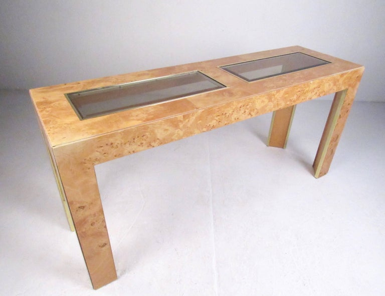 Vintage Modern Burl Wood Console Table By Thomasville For