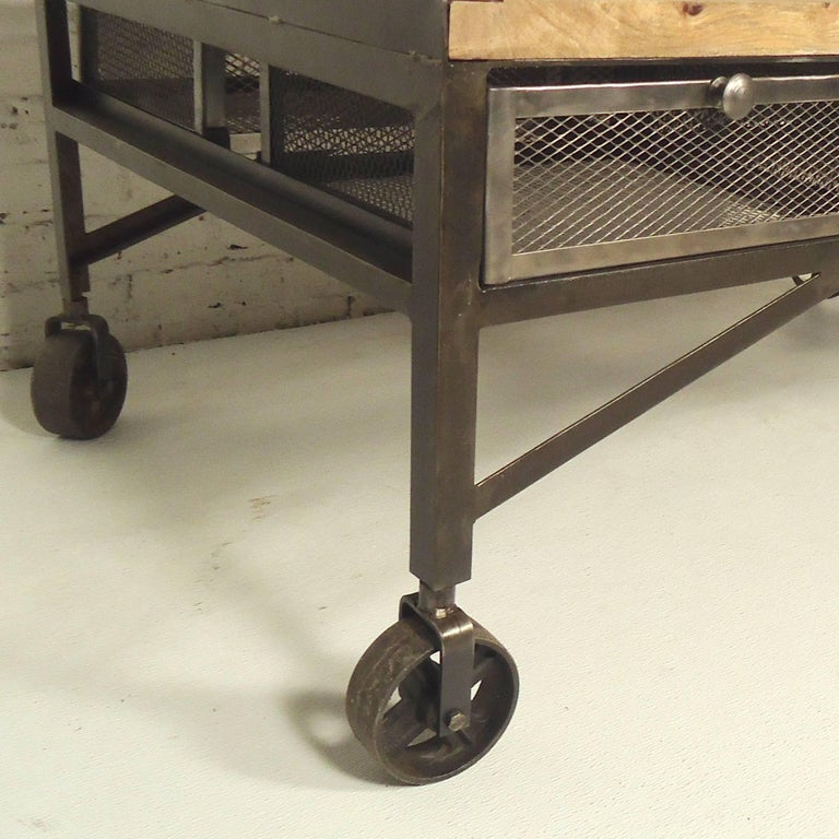 Industrial Style Coffee Table With Storage In Distressed Condition For Brooklyn Ny