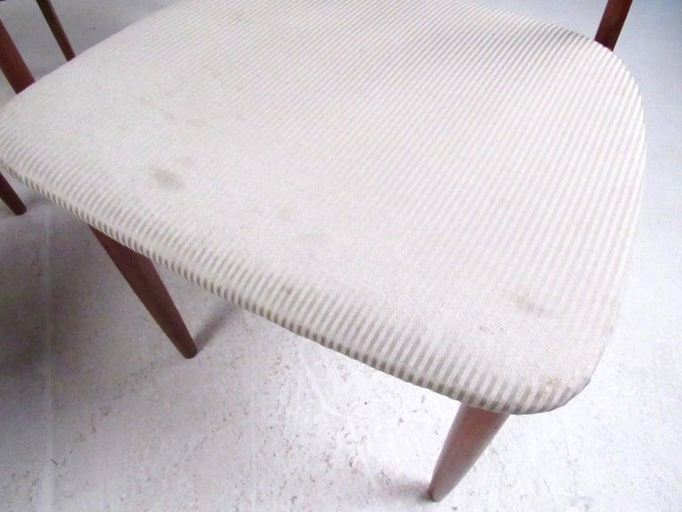 Scandinavian Modern Set of Four High Back Teak Dining Chairs For Sale
