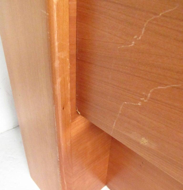 Scandinavian Modern Style Teak Platform Bed With Storage