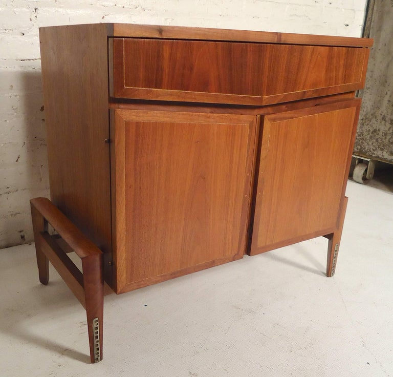 Unusual vintage cabinet with drawer and cabinet storage. Inlaid trim around the front.   (Please confirm item location - NY or NJ - with dealer).