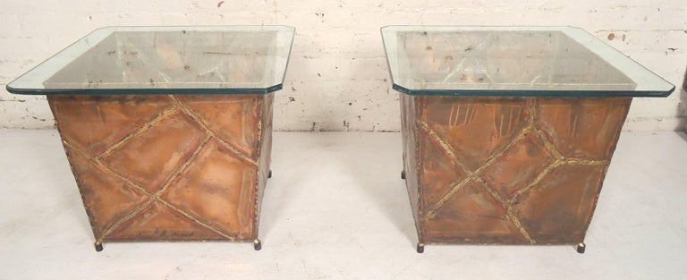 Unique end tables made of copper base and square glass tops. Brutalist style design. Great for living room or patio use.