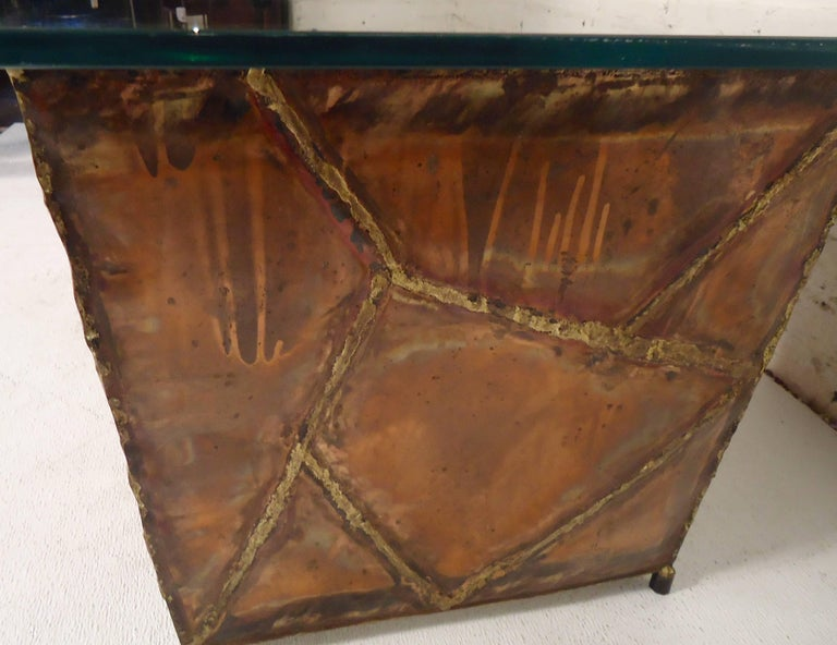 Copper Glass Side Tables For Sale 2